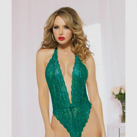 Lace Teddy Halter Ribbon Ties & Snap Crotch