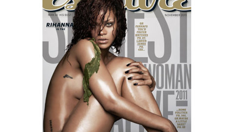 Rihanna Naked and Covered in Seaweed for Esquire Magazine
