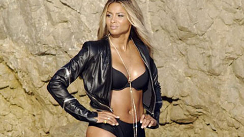 Ciara Shows Off Long Legs in Teenie Tiny Black Bikini