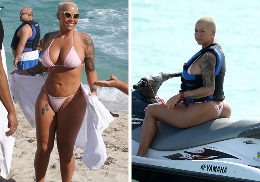 amber rose pink bikini and jet ski